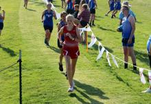Freshman Kennedy Sorenson competes at a recent cross country meet. | Photo by Kendall Sorensen